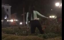 На Центральні площі Чернівців серед ночі дівчина з клумби зірвала квітку (відео)